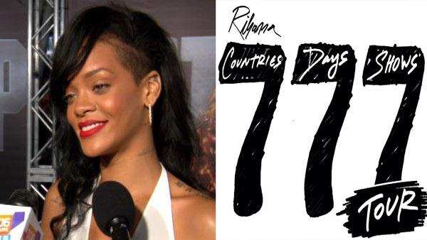 Rihanna talks to OnTheRedCarpet.com at the premiere of Battleship on May 10, 2012. / A photo in promotion of her 777 Tour from her official Twitter account. - Provided courtesy of OTRC / Twitter.com/rihanna / OTRC