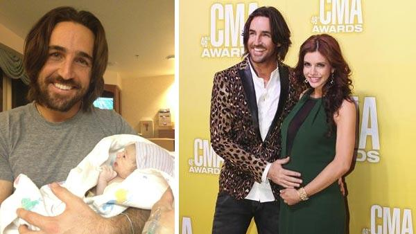 Jake Owen Tweeted this photo of his newborn daughter, Olive Pearl, on Nov. 22, 2012. / Jake Owen and wife Lacey Buchanan appear at the CMA Awards on Nov. 1, 2012.