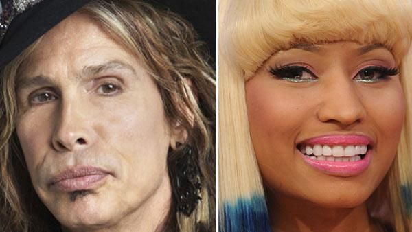 Steven Tyler of Aerosmith appears in a promotional photo for American Idol. / Nicki Minaj appears in a 2012 promotional photo for American Idol. - Provided courtesy of FOX / Michael Becker