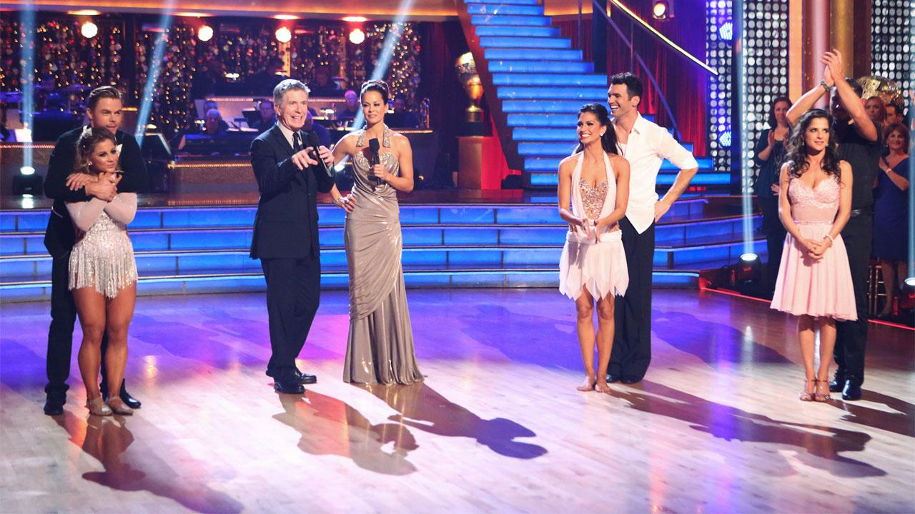 Finalists Shawn Johnson, Derek Hough, Melissa Rycroft, Tony Dovolani, Kelly Monaco and Valentin Chmerkovskiy appear with hosts Tom Bergeron and Brooke Burke Charvet on Dancing With The Stars: All-Stars on Monday, Nov. 26, 2012.Adam Taylor
