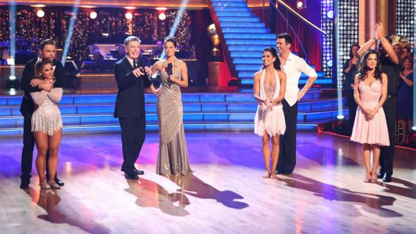 Finalists Shawn Johnson, Derek Hough, Melissa Rycroft, Tony Dovolani, Kelly Monaco and Valentin Chmerkovskiy appear with hosts Tom Bergeron and Brooke Burke Charvet on 'Dancing With The Stars: All-Stars' on Monday, Nov. 26, 2012.