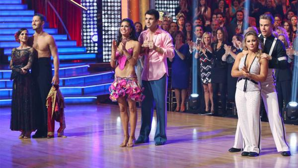 Finalists Shawn Johnson, Derek Hough, Melissa Rycroft, Tony Dovolani, Kelly Monaco and Valentin Chmerkovskiy on 'Dancing With The Stars: All-Stars' on Monday, Nov. 26, 2012.