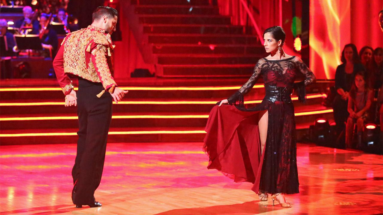 General Hospital actress Kelly Monaco and her partner Valentin Chmerkovskiy received 29.5 out of 30 points from the judges for their Paso Doble on Dancing With The Stars: All-Stars on Monday, Nov. 26, 2012. <span class=meta>(Adam Taylor)</span>
