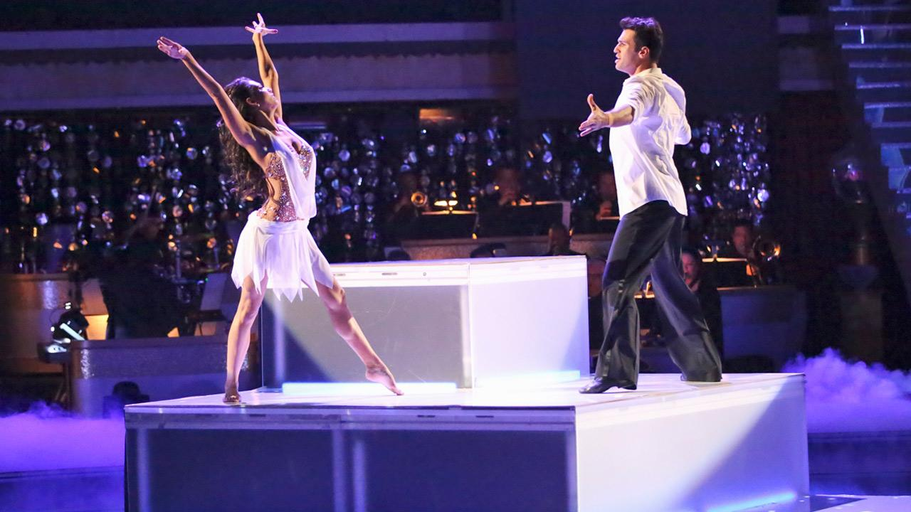 Reality star Melissa Rycroft and her partner Tony Dovolani received 30 out of 30 points from the judges for their Freestyle on Dancing With The Stars: All-Stars on Monday, Nov. 26, 2012. <span class=meta>(Adam Taylor)</span>