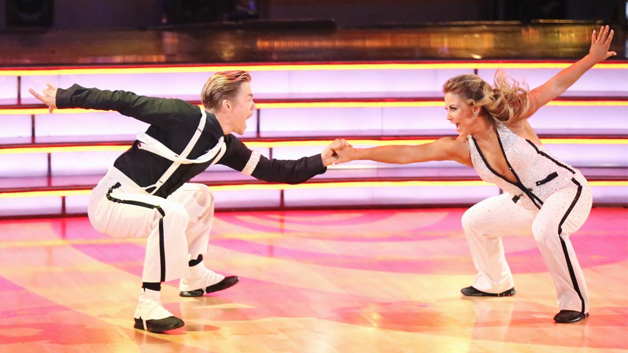 Olympic gymnast Shawn Johnson and her partner Derek Hough received 27 out of 30 points from the judges for their Quickstep on Dancing With The Stars: All-Stars on Monday, Nov. 26, 2012. <span class=meta>(Adam Taylor)</span>