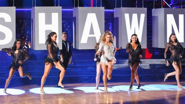 Olympic gymnast Shawn Johnson and her partner Derek Hough received 30 out of 30 points from the judges for their Freestyle, which featured the 'Fierce Five,' on 'Dancing With The Stars: All-Stars' on Monday, Nov. 26, 2012.