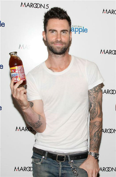 The &#39;Snapple&#39; stare: Adam Levine poses with a Snapple bottle at a party promoting the new flavor &#39;Tea Will Be Loved,&#39; benefiting Feeding America, in New York on Aug. 26, 2011. <span class=meta>(Amanda Schwab &#47; Startraksphoto.com)</span>