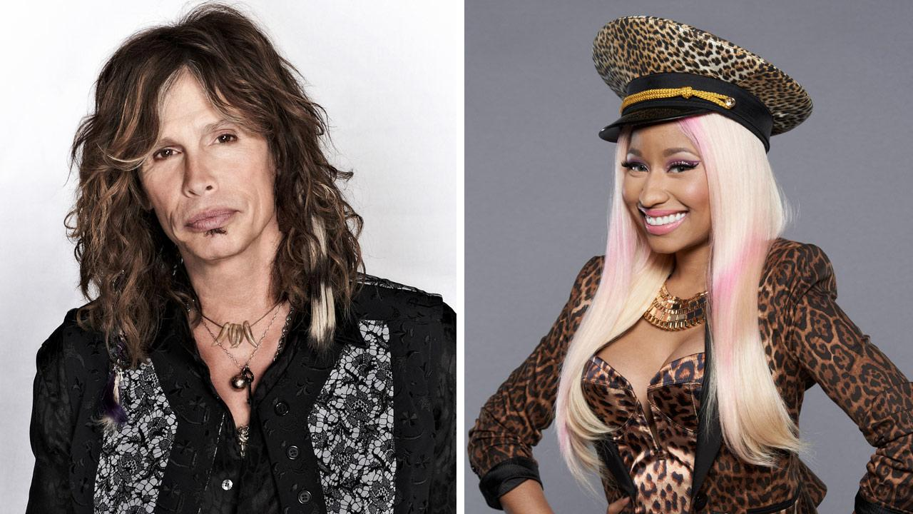 Steven Tyler appears in a 2012 promotional photo for American Idol season 11. / Nicki Minaj appears in a 2012 promotional photo for American Idol season 12.