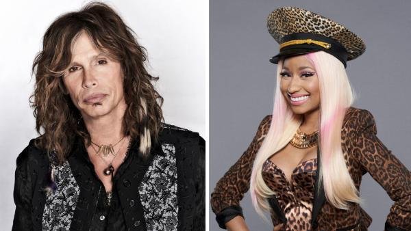 Steven Tyler appears in a 2012 promotional photo for American Idol season 11. / Nicki Minaj appears in a 2012 promotional photo for American Idol season 12. - Provided courtesy of Michael Becker / FOX