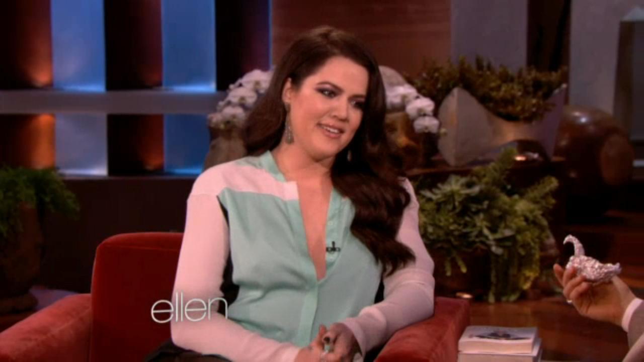 Khloe Kardasian appears on The Ellen DeGeneres Show on November 28, 2012.