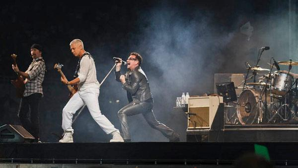 U2 appears in a photo from their official Facebook page on August 10, 2010.
