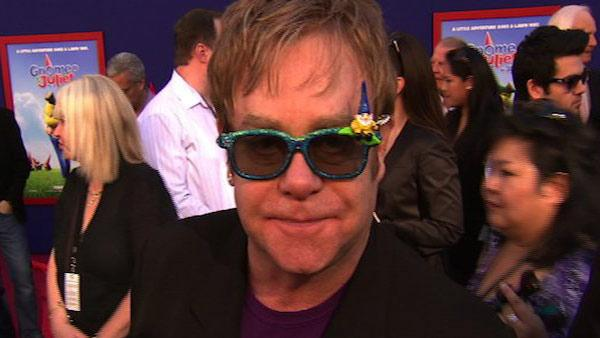 Elton John speaks to OnTheRedCarpet.com at the premiere of 'Gnomeo & Juliet' in Los Angeles in January 2011.