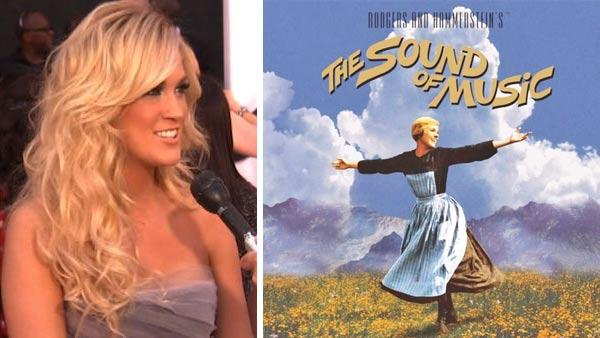 Carrie Underwood talks to OnTheRedCarpet.com at the 2012 Billboard Awards on May 20, 2012. / Julie Andrews is seen in the iconic mountaintop scene from the 1965 movie The Sound of Music. - Provided courtesy of OTRC / Robert Wise Productions / Twentieth Century Fox Home Entertainment