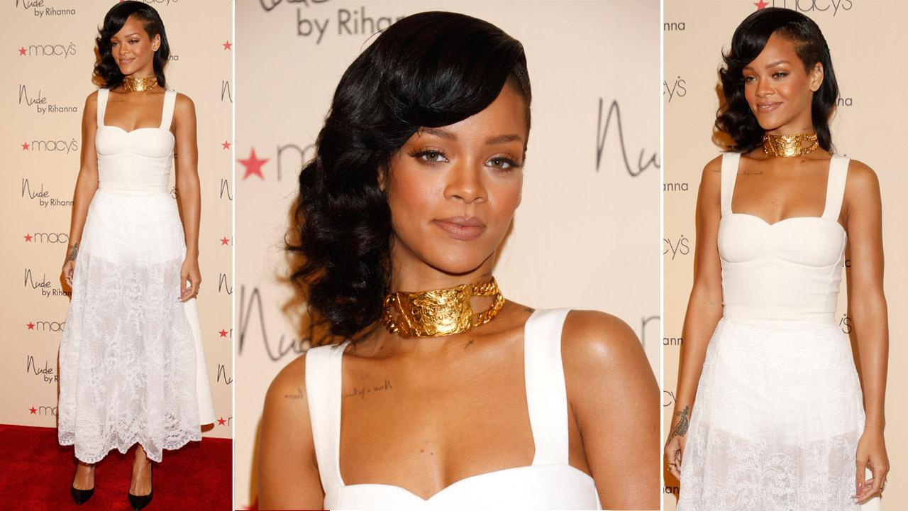 Recording artist Rihanna attends the launch of her third fragrance, Nude By Rihanna, at Macys Westfield Century City at Macys Westfield Century City on December 1, 2012 in Century City, California.