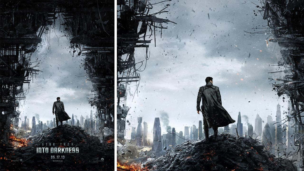 The official movie poster of the 2012 film Star Trek Into Darkness.