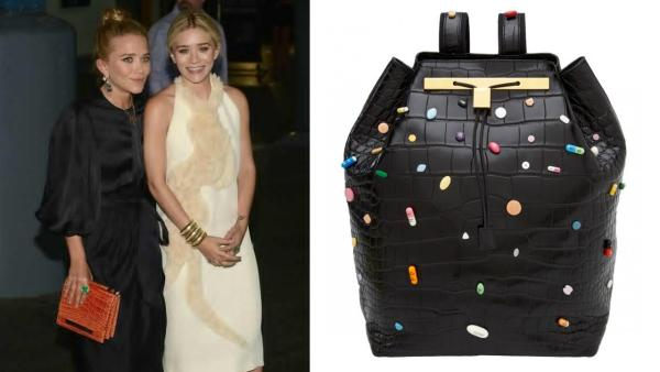 Mary-Kate and Ashley Olsen appear in a photo from The Rows Official Facebook page. / A photo of The Rows pill-encrusted backpack from the designers official Facebook page. - Provided courtesy of Facebook.com/pages/The-Row