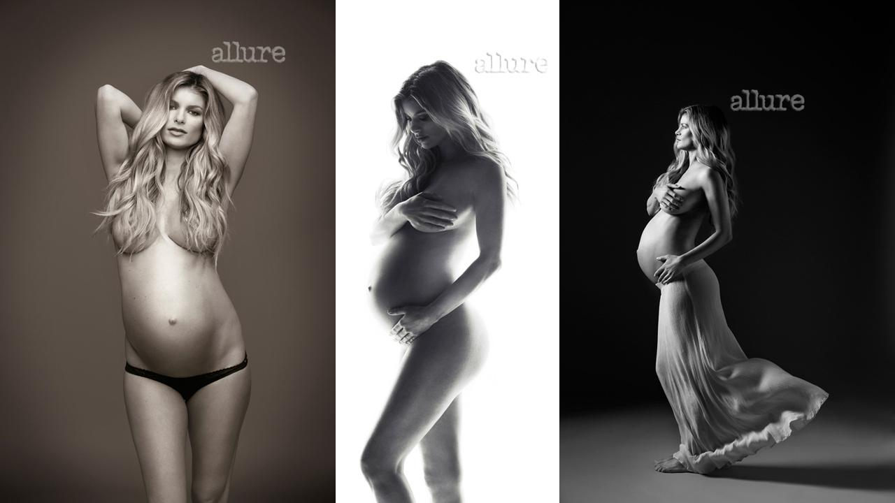 Marisa Miller poses half-nude while pregnant in these exclusive photos shot for Allure magazine, published in November 2012.