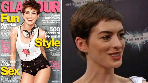 Anne Hathaway appears on the January 2013 cover of Glamour magazine. / Anne Hathaway talks to reporters at the New York premiere of  The Dark Knight Rises on July 16, 2012. - Provided courtesy of Glamour magazine / OTRC