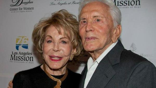 Anne and Kirk Douglas appear at the 20th anniversary of the Anne Douglas Center for Women at the Los Angeles Mission on September 13, 2012.