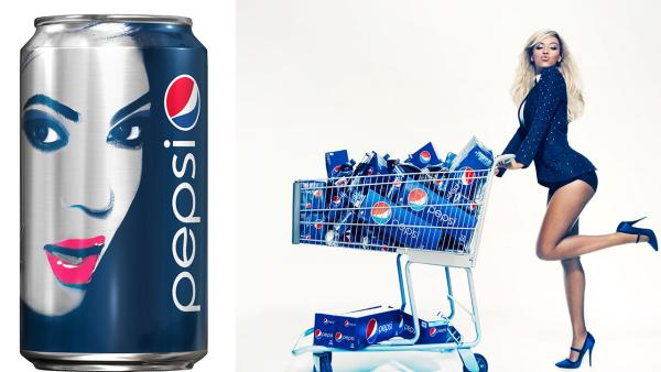 A limited edition Pepsi can developed in partnership between Pepsi and Beyonce. It will first be seen in Europe March 2013. / Beyonce at a Pepsi photo shoot in October 2012. This will appear as life-size standees in stores starting first quarter 2013. - Provided courtesy of PepsiCo