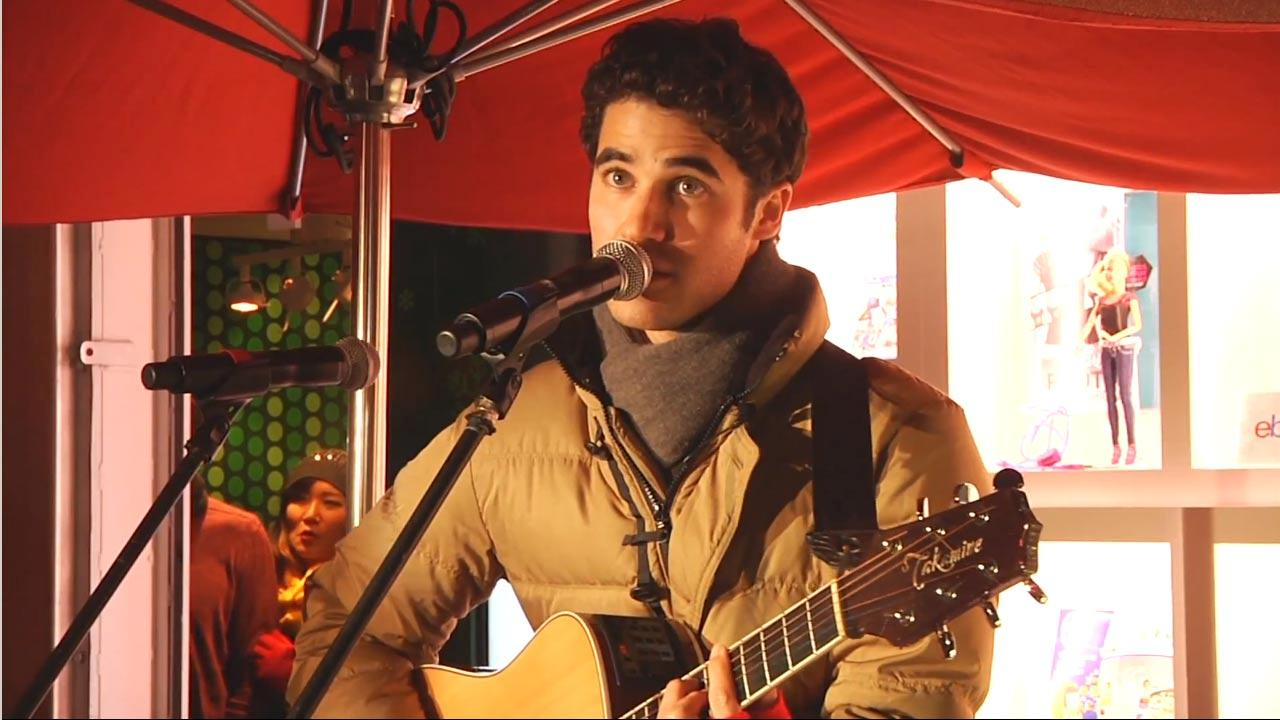 Darren Criss performs in New York City to benefit Toys for Tots on December 9, 2012.