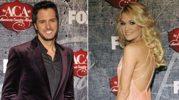Carrie Underwood and Luke Bryan arrive at the American Country Awards on Monday, Dec. 10, 2012, in Las Vegas. - Provided courtesy of AP / Joe Bottari