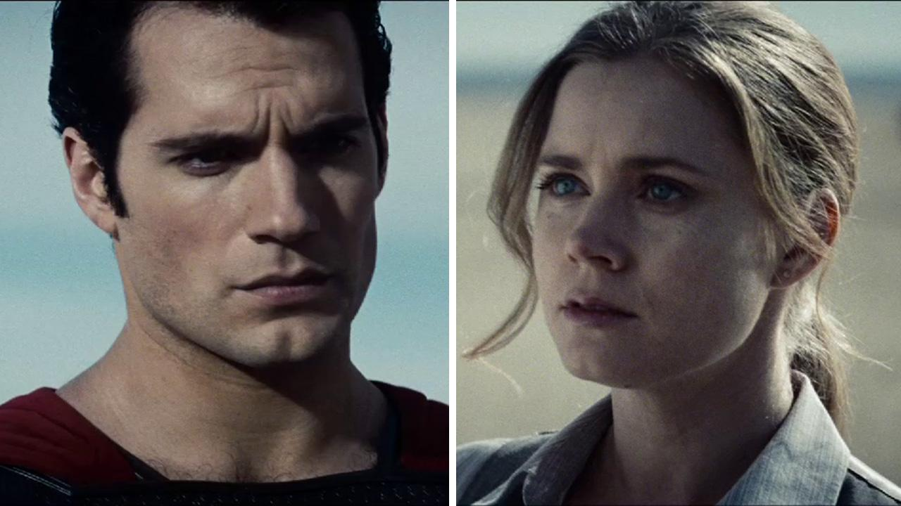 Henry Cavill and Amy Adams appear as Superman and Lois Lane in this scene from the 2013 movie Man of Steel.