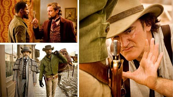 Leonardo DiCaprio, Christoph Waltz and Jamie Foxx appear in a scenes from the 2012 movie 'Django Unchained.' / Quentin Tarantino is pictured in a publicity photo for 'Django Unchained.'