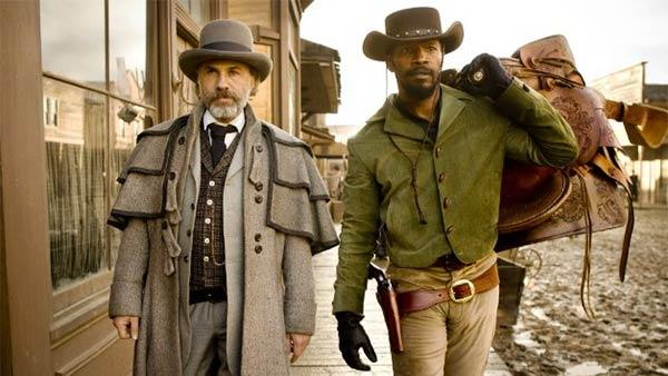 Christoph Waltz and Jamie Foxx appear in a scene from the 2012 movie Django Unchained. - Provided courtesy of Andrew Cooper / The Weinstein Company
