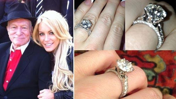 Hugh Hefner, left, and Crystal Harris in a Twitter photo taken in 2010. / A photo of Harris engagment ring taken on December 11, 2012. - Provided courtesy of Twitter.com/crystalharris