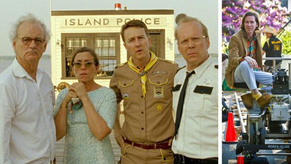 Bill Murray, Frances McDormand, Edward Norton and Bruce Willis appear in a scene from the 2012 film 'Moonrise Kingdom.' / Wes Anderson appears on the set of 'Moonrise Kingdom,' as seen in this publicity photo.