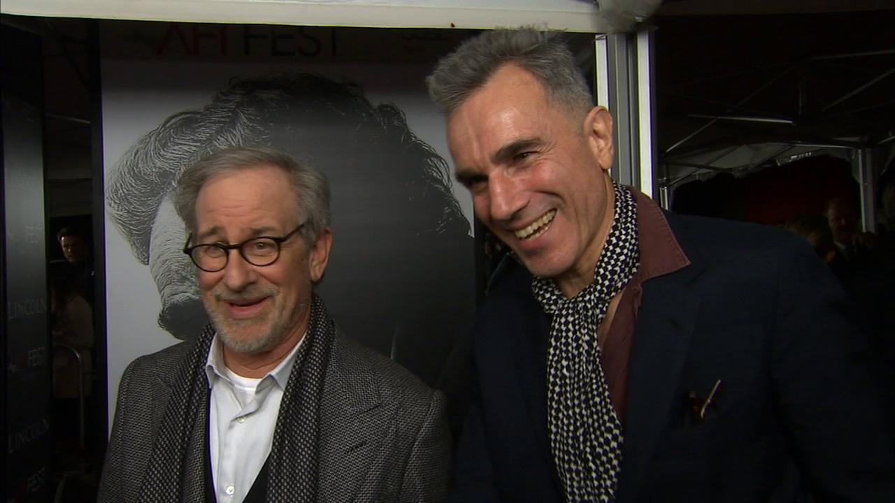 Steven Spielberg and Daniel Day-Lewis talk to OTRC.com at the premiere of Lincoln at Graumans Chinese Theatre during AFI Fest in Hollywood on Nov. 8, 2012.