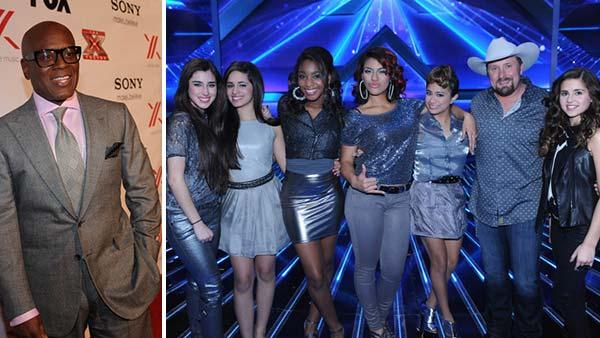 L.A. Reid arrives at The X Factor Viewing Party on Dec. 6, 2012 in Hollywood. / Fifth Harmony, Tate Stevens and Carly Rose Sonenclar appear in a publicity photo after being chosen to advance to the finals on season 2 of The X Factor on Dec. 13, 2012. - Provided courtesy of Ray Mickshaw / FOX