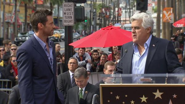 Jay Leno speaks at Hugh Jackman's star ceremony