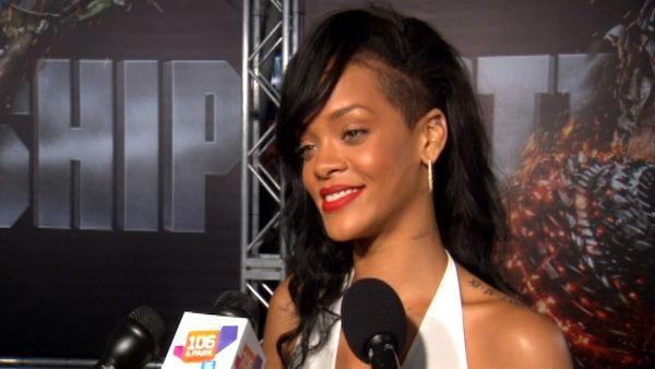 Rihanna talks to OnTheRedCarpet.com at the premiere of 'Battleship' on May 10, 2012.Rihanna talks to OnTheRedCarpet.com at the premiere of 'Battleship' on May 10, 2012.