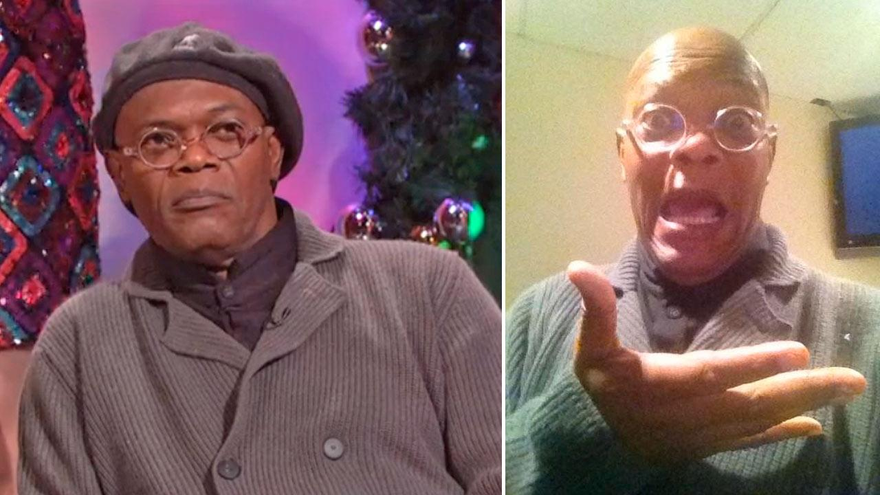 Samuel L. Jackson appears on Saturday Night Live on December 15, 2012. / Jackson appears in a photo posted on his official Twitter page on December 15, 2012.