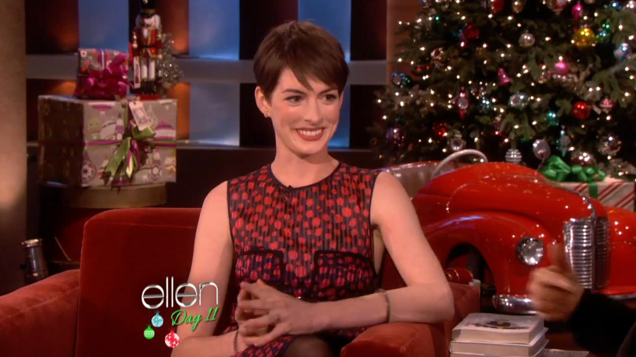 Anne Hathaway appears in an interview on the Ellen DeGeneres show on December 17, 2012.
