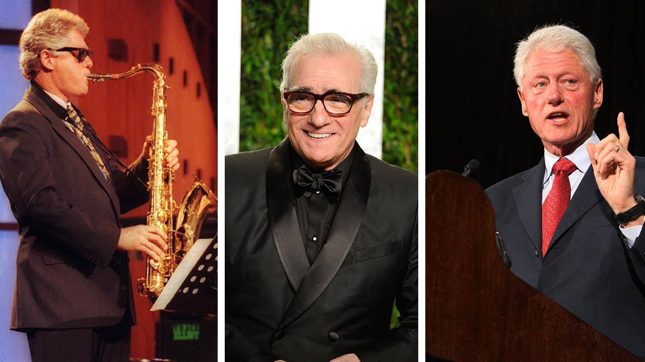 President Bill Clinton plays his saxophone at a taping of The Arsenio Hall Show on June 3, 1992. / Martin Scorsese arrives at the Vanity Fair Oscar party on Feb. 26, 2012. / Bill Clinton speaks at Florida International University on Sept. 11, 2012.