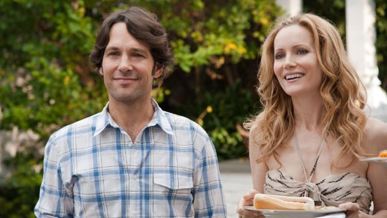 Paul Rudd and Leslie Mann appear in a still from This Is 40.
