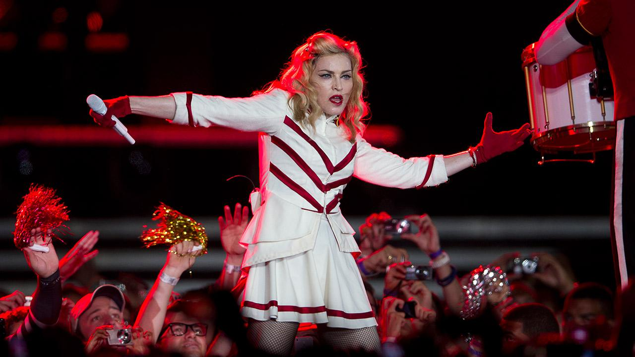 Madonna performs during her MDNA World Tour in Rio de Janeiro, Brazil, Sunday, Dec. 2, 2012.