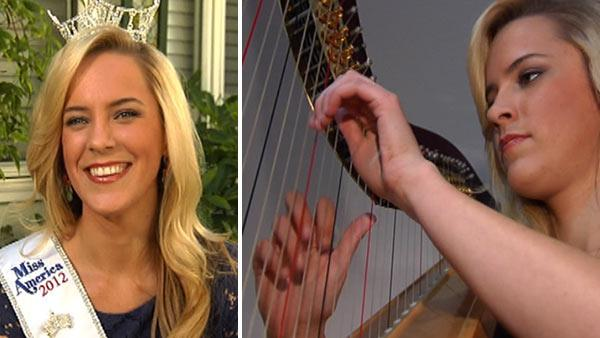 Miss California Leah Cecil plays the harp