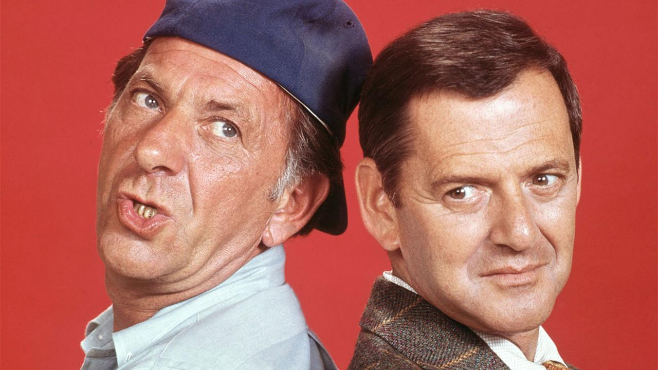 Jack Klugman (left) appears as Oscar Madison and Tony Randall as Felix Unger in this publicity photo for the 1970s show The Odd Couple.