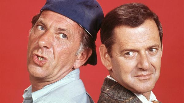 Jack Klugman (left) appears as Oscar Madison and Tony Randall as Felix Unger in this publicity photo for the 1970s show 'The Odd Couple.'