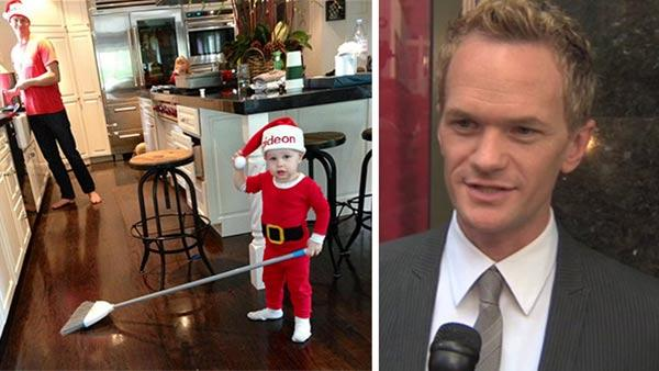 Neil Patrick Harris shared this photo of his partner David Burtka (left) and their twin son Gideon (right) and daughter Harper (back) on Dec. 25, 2012. / Neil Patrick Harris speaks after his star ceremony on the Hollywood Walk of Fame on Sept. 15, 2011.