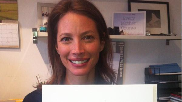 Christy Turlington Banks appears in a photo from her official Twitter account. The photo, taken on May 15, 2012, shows the model holding what appears to be a drawing, and in her Tweet she thanks Liza Donnelly for supporting Every Mother Counts.