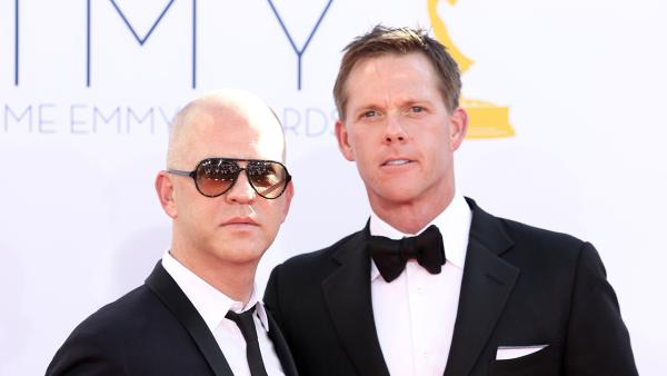 Ryan Murphy, left, and David Miller arrive at the 64th Primetime Emmy Awards at the Nokia Theatre on Sunday, Sept. 23, 2012, in Los Angeles. - Provided courtesy of Matt Sayles / Invision / AP