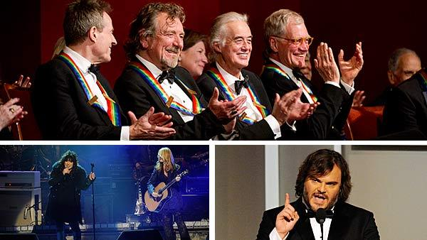 Led Zeppelin members John Paul Jones, Robert Plant and Jimmy Page and Late Show host David Letterman appear at the Kennedy Center Honors ceremony on Dec. 2, 2012. / Ann Wilson and Nancy Wilson of Heart perform. / Jack Black appears at the event. - Provided courtesy of John Paul Filo / Jeffrey R. Staab / CBS