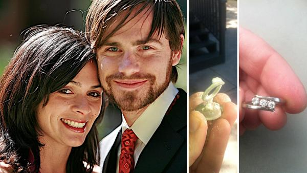 Rider Strong and Alexandra Barreto appear in a photo the actor's rep provided on Dec. 27, 2012, the day he announced the two are engaged. / The engagement ring Rider Strong designed for his fiancee.