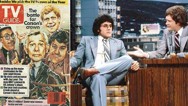 Jay Leno and Letterman appear on the covers of TV Guide in 1991. / Jay Leno appears on Late Night with David Letterman in an episode that aired in the early 1980s. - Provided courtesy of Jeff Scott / TV Guide / NBC