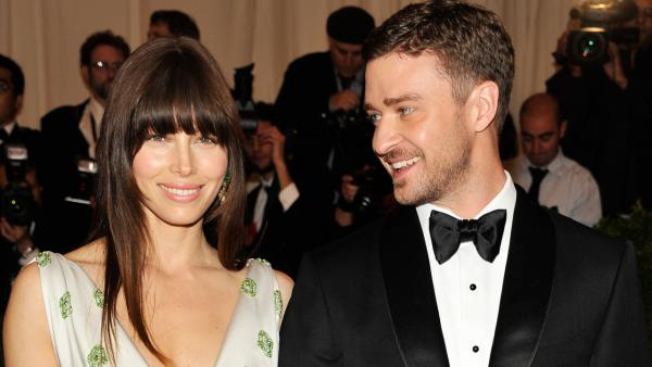 Justin Timberlake, right, and Jessica Biel arrive at the Metropolitan Museum of Art Costume Institute gala benefit, celebrating Elsa Schiaparelli and Miuccia Prada, on Monday, May 7, 2012 in New York.